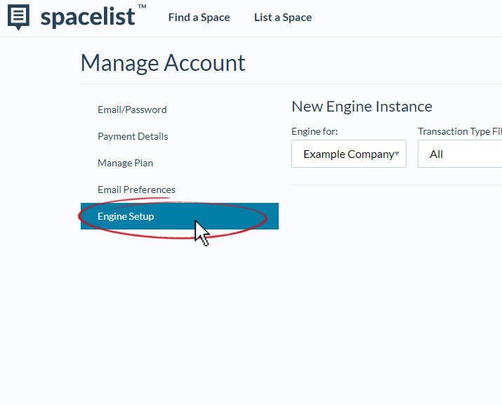 accounts_settings_-_engine_setup_screen_-_engine_setup_highlighted_with_red_circle_and_mouse_cursor.PNG